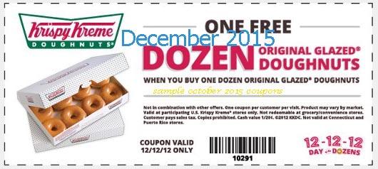 dec Krispy Kreme Printable coupons Krispy Kreme 2016