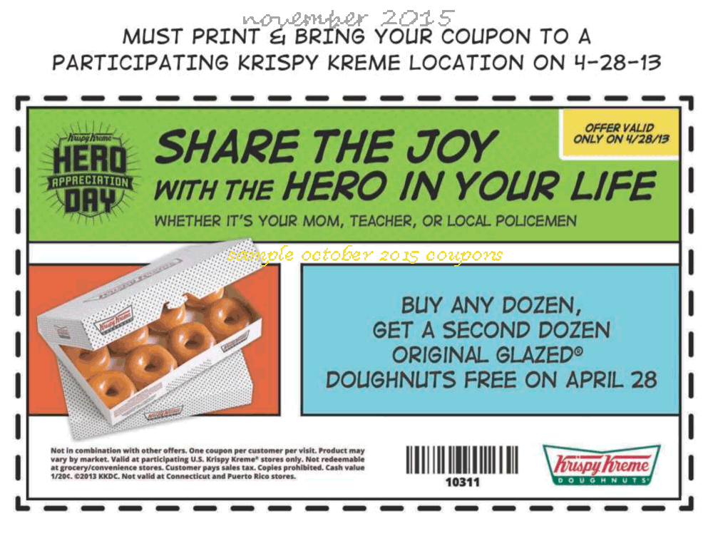 graphic regarding Krispy Kreme Printable Coupons known as cost-free Krispy Kreme coupon codes november 2016 Printable Discount coupons