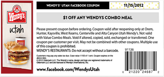free printable Wendys Coupons for 2016 US