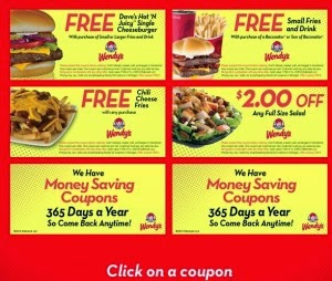 free printable Wendys Coupons for 2016 half off combo