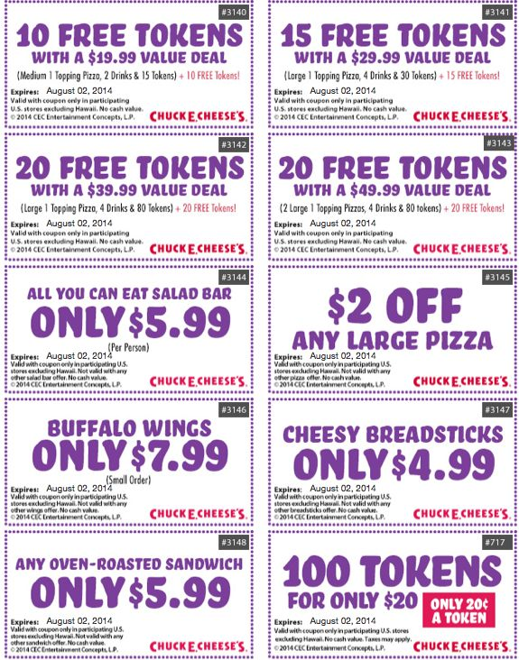 · Moreover, Save w/ Chuck E Cheese Coupons 10+ Chuck E Cheese Token Coupons. Now must try your favorite pizzas, fresh salad and our delicious cinnamon dessert pizza at Chuck E Cheese and most famous new All-You-Can-Eat Buffet/5(6).
