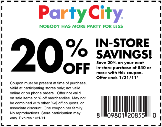 Take a look at our 5 Party City promo codes including 4 coupon codes, and 1 Passbook offer. Most popular now: In-Store: $10 Off $50+ Custom Invites, Banners and Photo Cards. Latest offer: In-Store: $10 Off $50+ Custom Invites, Banners and Photo Cards.