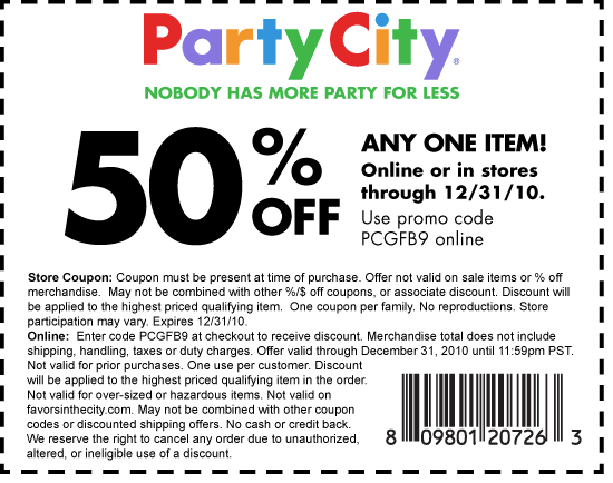 Oct 05,  · $10 $15 $20 Off Party City Coupon In Store: Show or print out this coupon and present it in Party City stores to get up to $20 of purchases of $ or more..(December-6)All Party City Coupons – Balloons, Pinata, & Candy In Store & Online: Free Pinata's with purchase, bagged candies, invitations, custom banners, percentage off balloons, and more/5(74).
