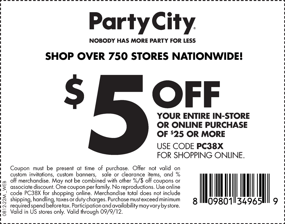 Party city printable coupons december 2018