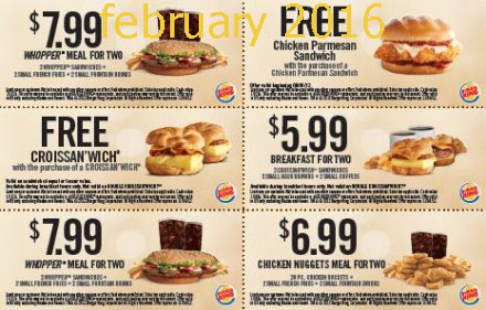 Burger King coupons february