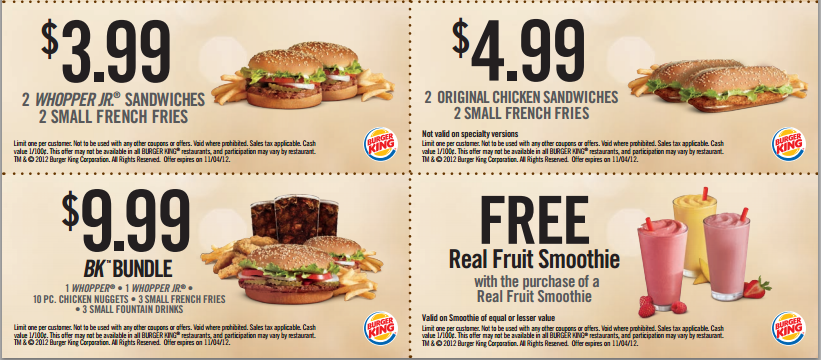 Burger king mobile coupons drive in