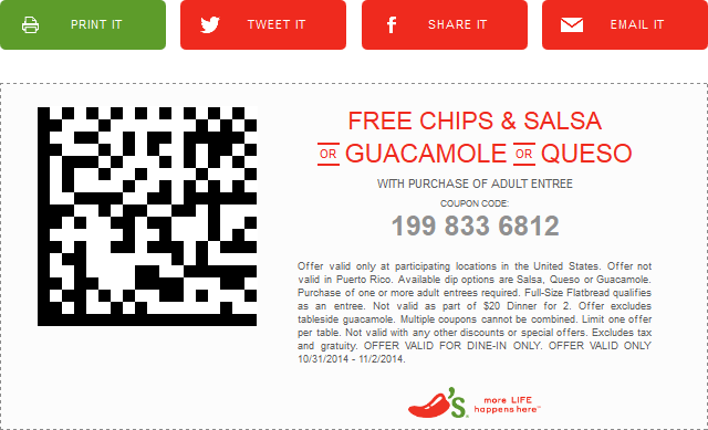 Mobile scan code-free printable Chili's