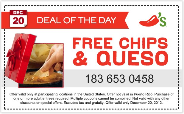 Printable Chilis Restaurant Coupons 1