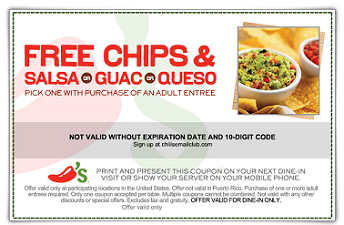 photograph about Chilis Printable Coupon called Printable-Chilis Cafe Discount coupons (1) Printable Discount codes
