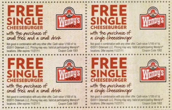 Promotional Voucer Sample Wendy Coupons Fast Food 2016 2