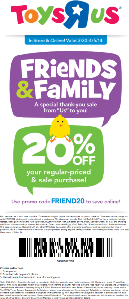 25% Off - Toys R Us Coupons:: Discounts in November 25% off Toys R Us Coupons All Active Toys R Us Promo Codes & Coupons - Up To 25% off in November Toys R Us is the leading store for children's toys in the U.S. as well as a recognized toy and baby products retailer around the globe.