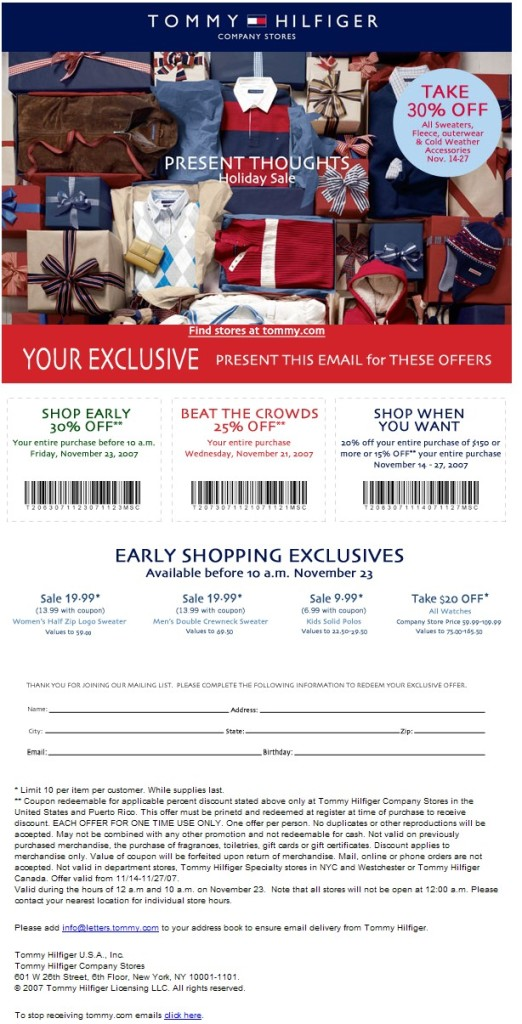 image regarding Tommy Hilfiger Outlet Coupon Printable identified as tommy hilfiger outlet retail outlet Printable Discount codes On the internet
