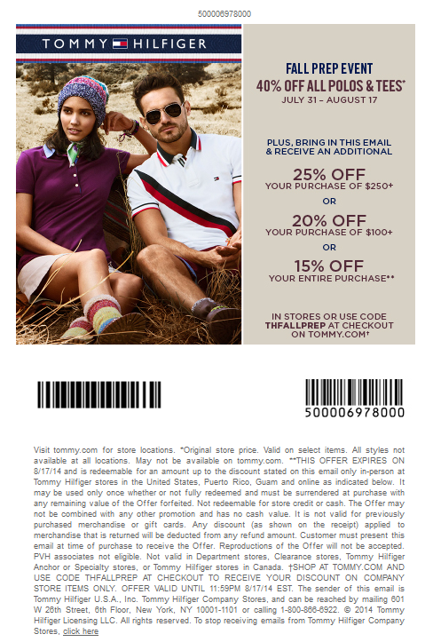in stores-white mail in Tommy hilfiger printable coupons