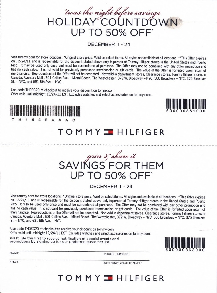 image about Tommy Hilfiger Coupon Printable identify Tommy inside of retail store coupon / Print Bargains