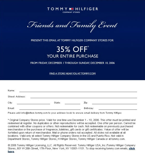 white mail in Tommy hilfiger printable couponsfriends-family