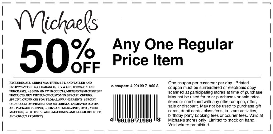 Michaels Coupons, Promo Codes (50% Off) 50% off Get Deal Top Michaels coupon: 50% Off. Find 13 Michaels coupons and promo codes for November, at rallfund.cf Get the App Printable Coupons Coupon Codes Grocery Coupons Stores Categories Available for FREE on the iPhone. Coupons. Coupon Codes. Printable Coupons. Grocery Coupons. General. About.