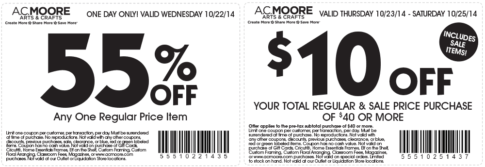 AC Moore discount coupon prints iphone