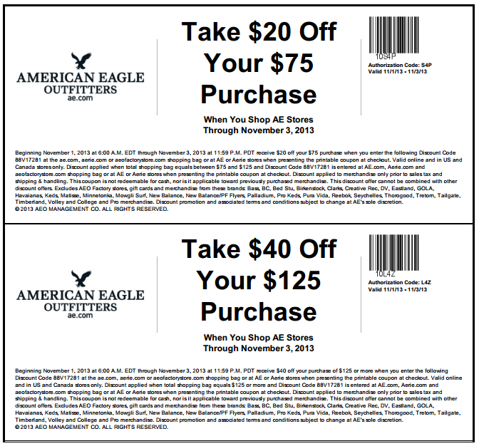 American eagle coupon code 20