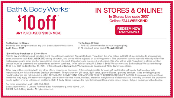 Bath And Body Works Coupons Printable Coupons Online