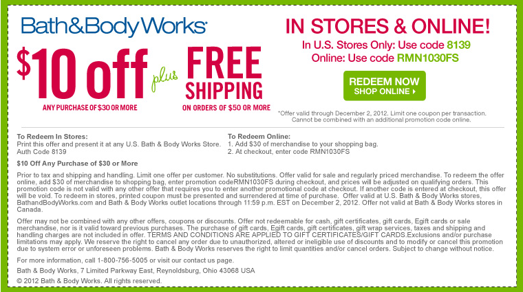Free shipping bath and body coupon code