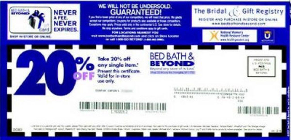 Save big at Bed Bath & Beyond with Bed Bath and Beyond 20% OFF Entire Purchase for Item in-store when use the Printable coupon December Save big at Bed Bath & Beyond with Bed Bath and Beyond 20% OFF Entire Purchase for Item in-store when use the Printable coupon December Bed Bath And Beyond Coupons.