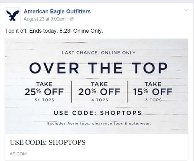 American eagle discount coupons