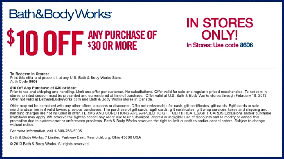 Bath and Body Works Printable Coupon 2016