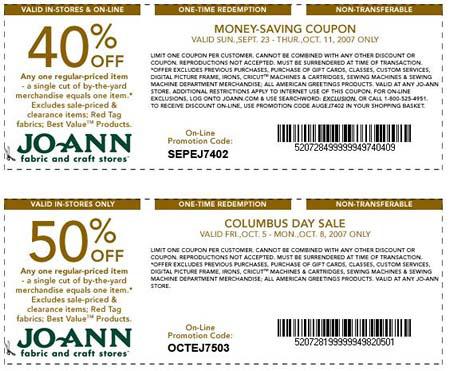 Free Online Joann Fabrics Off Printable Coupon 1