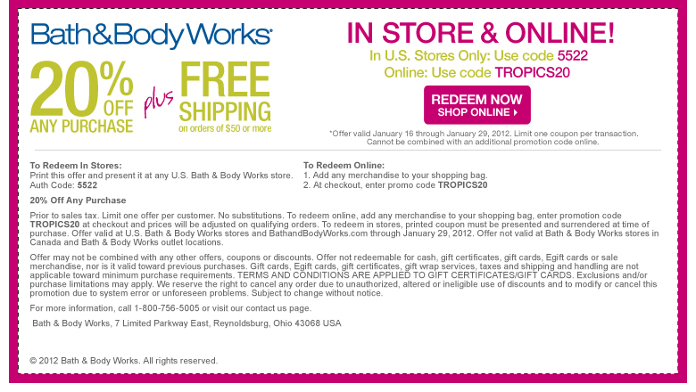Bath & Body Works coupon codes apply to every single item with no exclusions - including sale items. Another great coupon code is for 20% off your entire order. This code often includes a free item, usually worth between $10 and $12, which covers up to twice the cost of shipping.