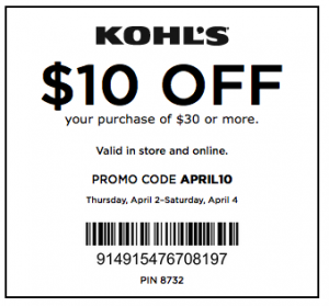 10off-Kohl's Coupon batch April and May code