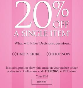 online Victoria's Secret coupons april
