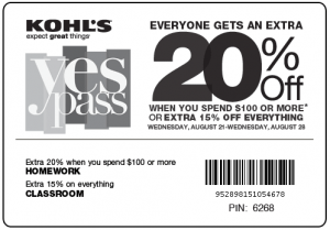 printable-Kohl's Coupon batch April and May