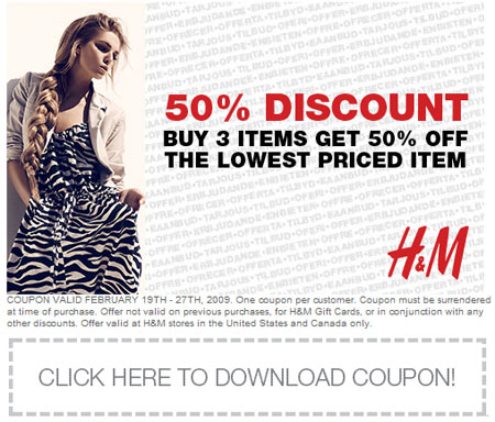 Where Can I Find The Best H&M Coupon Codes and Sale Prices? For in-store shoppers, H&M generally hosts a lot of daily sales from $, $7, $10 or more with new items added frequently. Sometimes, they'll also offer a massive sale event where a large selection of sale clothing, shoes and accessories are discounted up to 75% off with prices as low as $1.