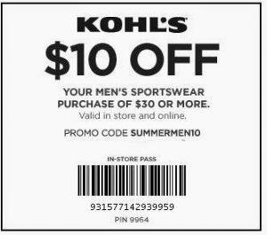 kohls memorial day coupons