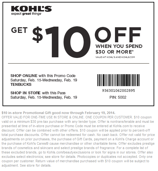 khols printable coupons get khols mobile coupons printable coupons 22666 | 10 off new printable free kohls coupons